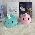 Plushies & Co ™ Light Pink & Tiffany Blue Reversible Narwhal Plush