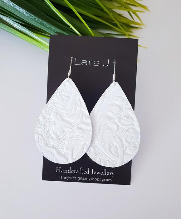 White Embossed Leather Earrings