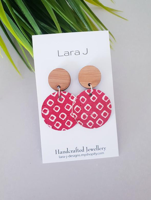 Small Ruby Leather Dangles - Bamboo Top