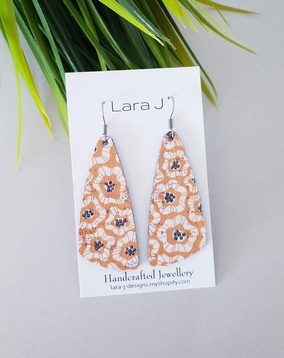 Mustard Floral Drop Leather Earrings