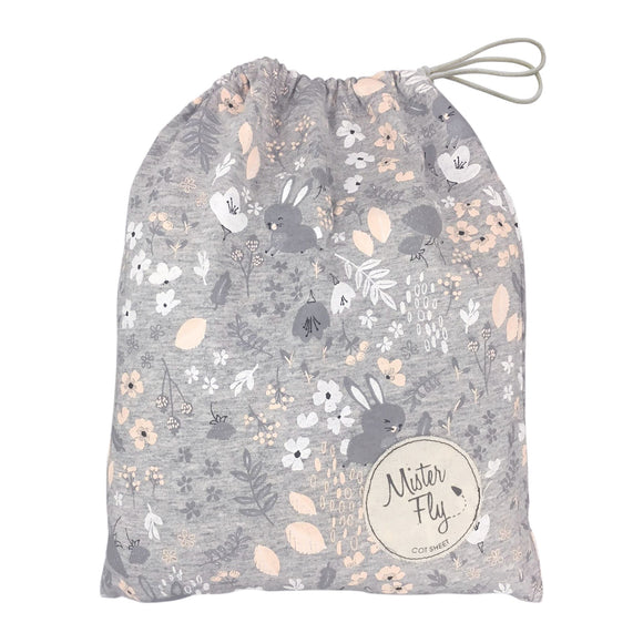 BUNNY FLORAL GREY JERSEY COT SHEET