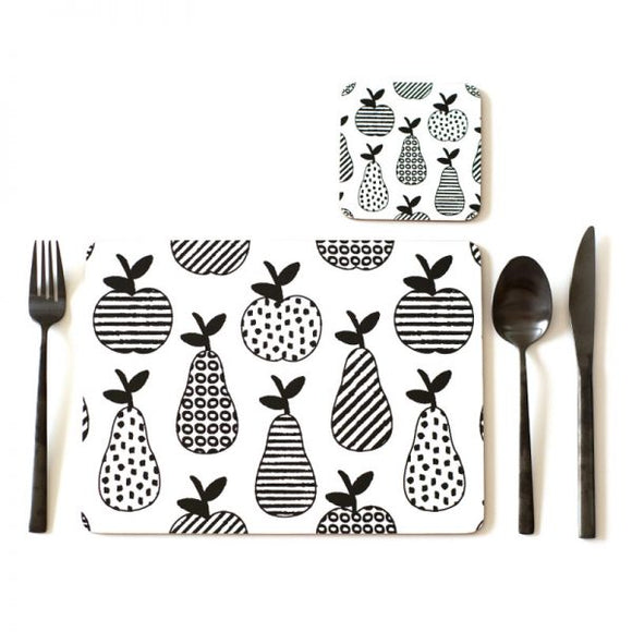 APPLE & PEARS SET OF 4 PLACEMATS - BLACK & WHITE