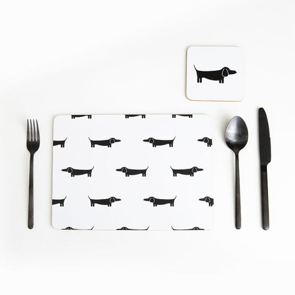 DAPPER DACHSHUND SET OF 4 PLACEMATS - BLACK & WHITE
