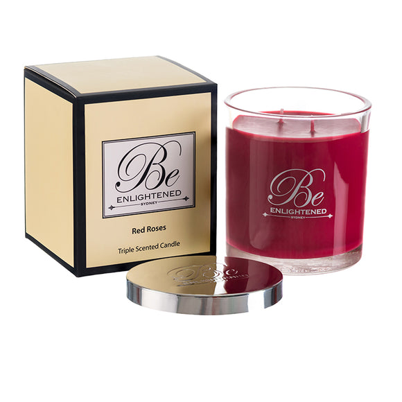 STANDARD TRIPLE SCENTED CANDLE RED ROSES
