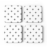 SWISS CROSS SET OF 4 COASTERS - BLACK & WHITE