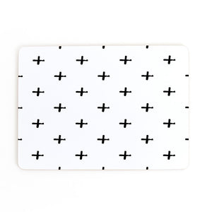 SWISS CROSS SET OF 4 PLACEMATS - BLACK & WHITE