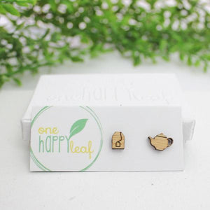 TEA POT & TEA BAG STUD EARRINGS
