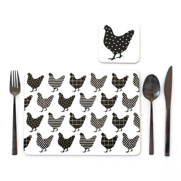 CHARMING CHOOK SET OF 4 PLACEMATS - BLACK & WHITE