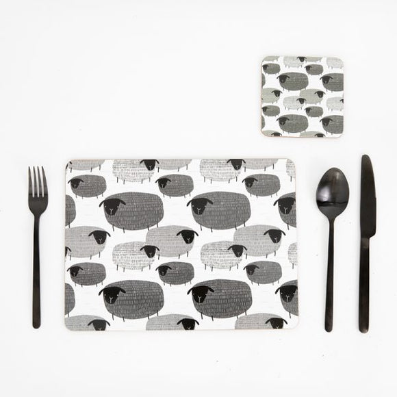 SUAVE SHEEP SET OF 4 PLACEMATS - BLACK & WHITE