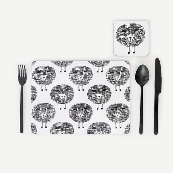 SNOOZY SHEEP SET OF 4 PLACEMATS - BLACK & WHITE