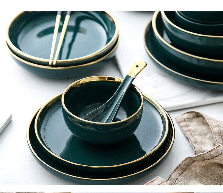Green Gold Inlay Dinnerware Set