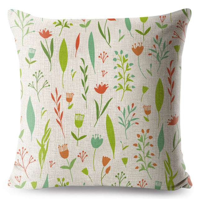Printed Plant Floral Pillowcase