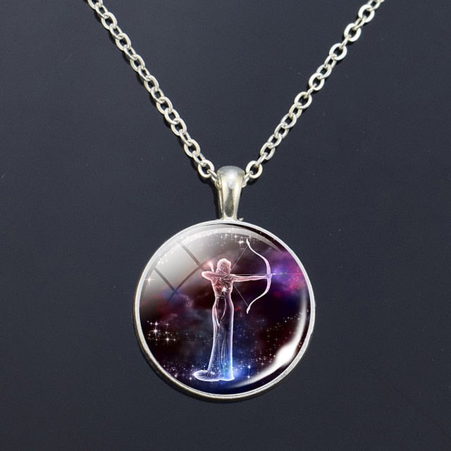 Zodiac Signs Glass Constellations Pendant Necklace