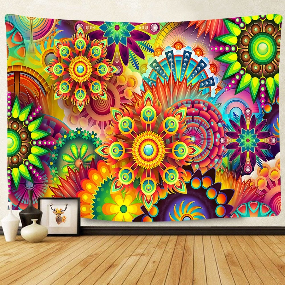 Colorful Mandala Pattern Tapestry