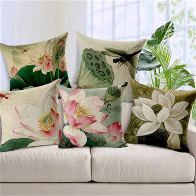 Lotus flower cotton pillowcase