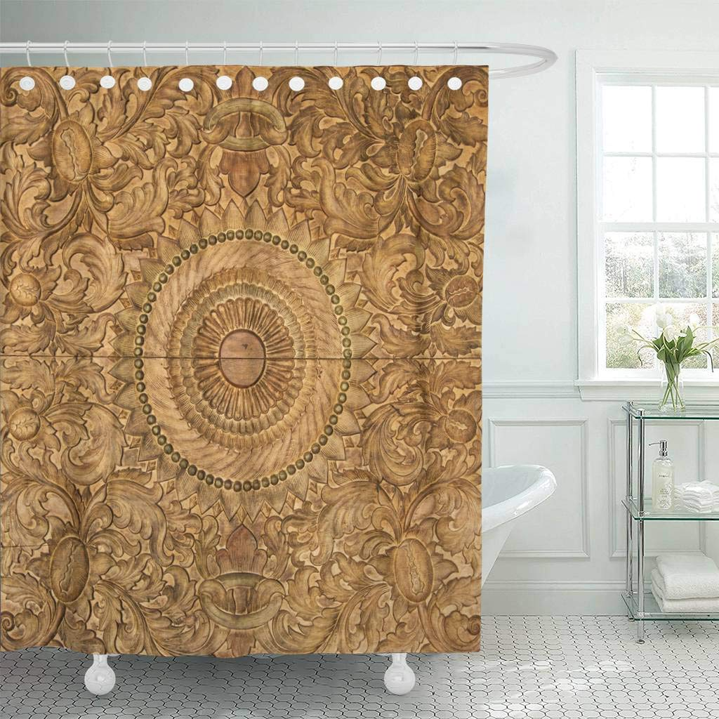 Brown Floral Flower Wooden Carving Wood Baroque Material Ancient Antique Carved Classic Decor Shower Curtains Bathroom Curtain