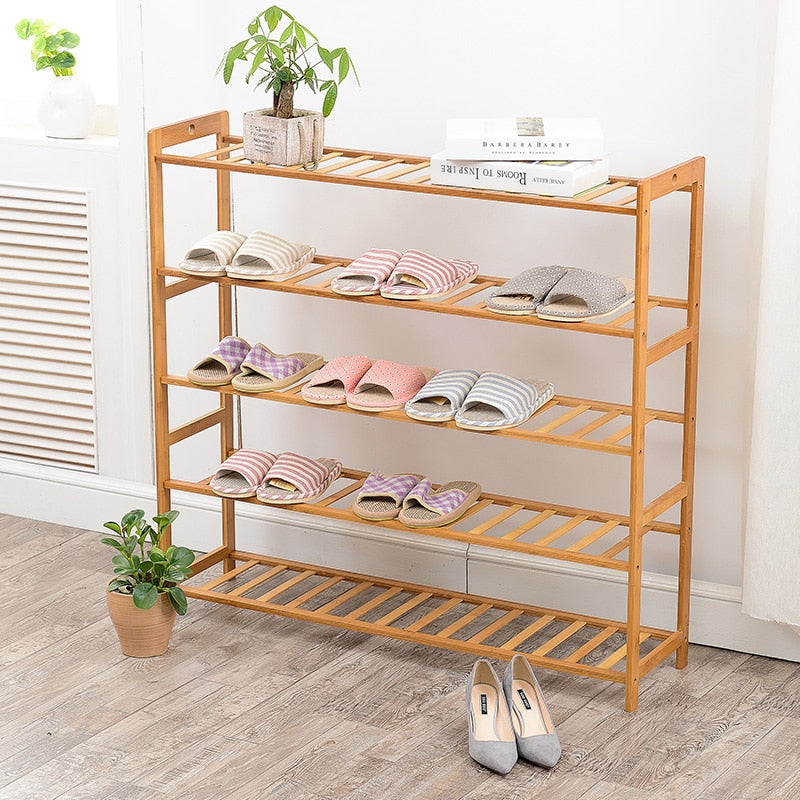 Bamboo Simple Assembly Natural Wood Household Shelves