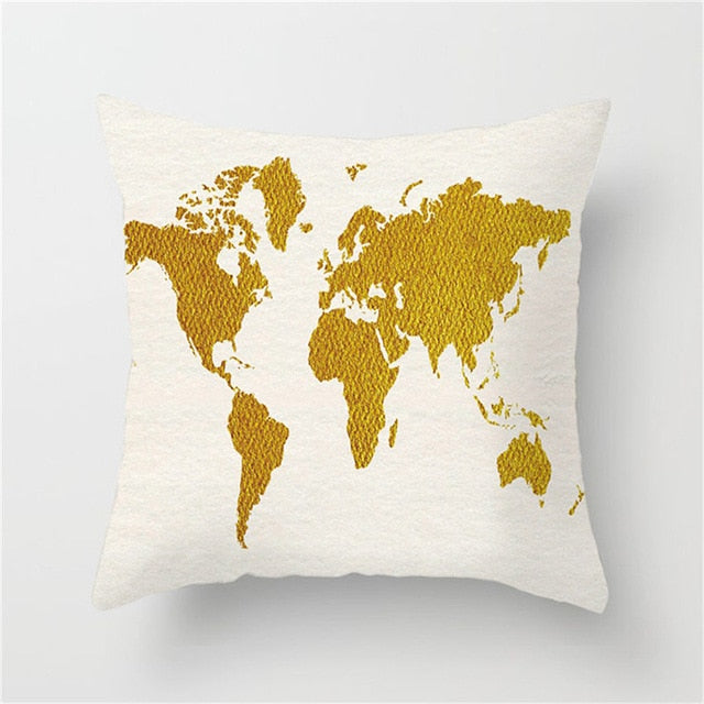 Watercolor World Map Cushion Cover