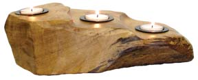 Triple Wooden Tealight Holder