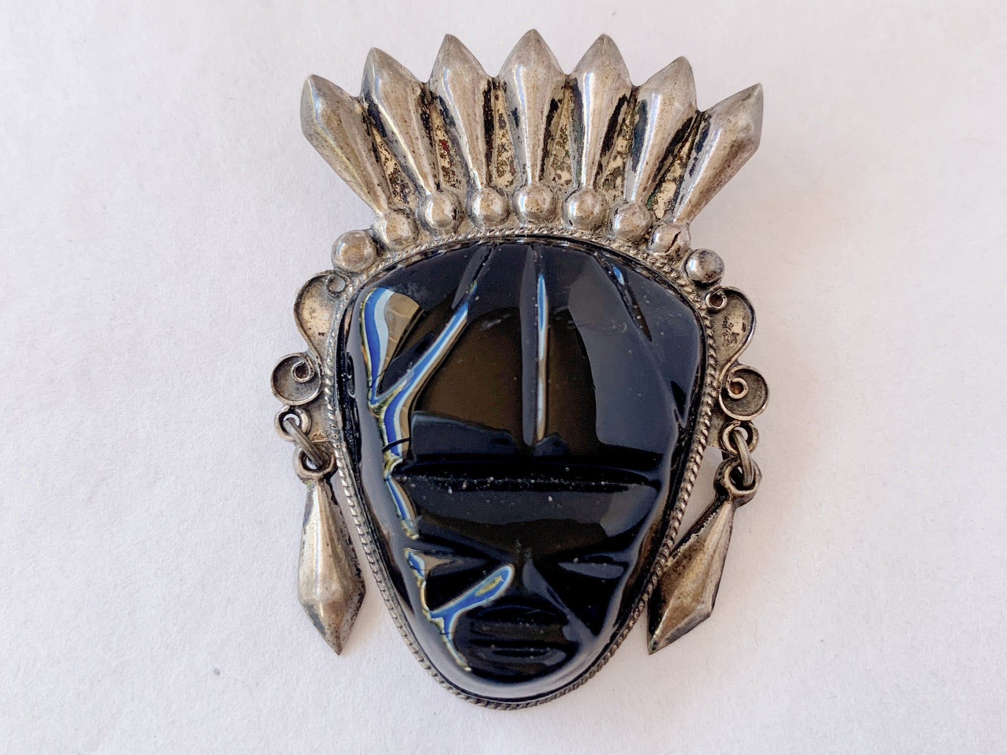 Vintage Mexican Silver Aztec Mayan Mask Black Onyx Pin Brooch
