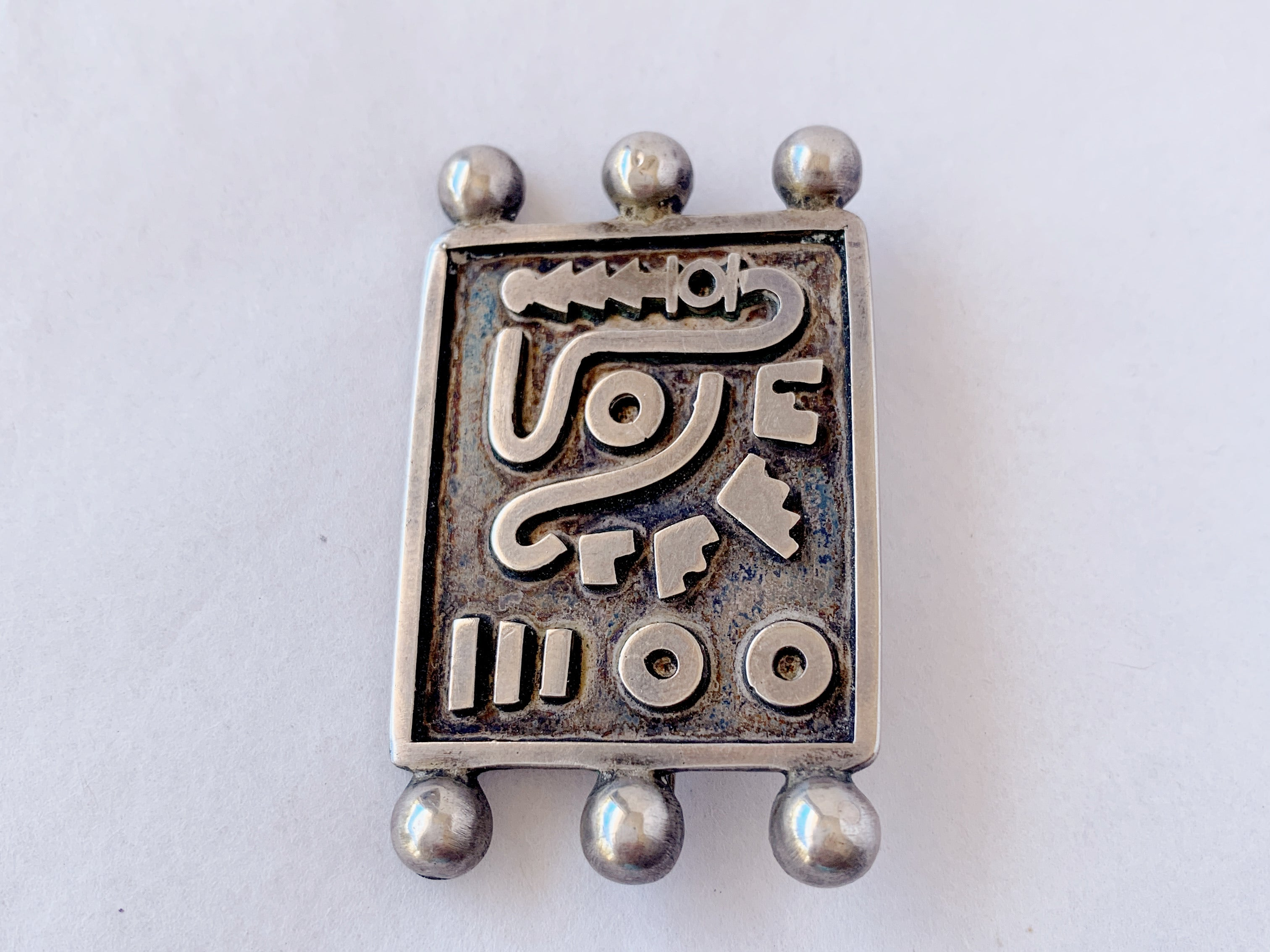 Vintage Chato Castillo Sterling Mexican Modernist brooch pin.