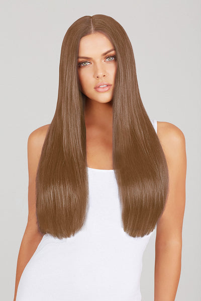 "#6 Light Chestnut Brown 20"" clip in hair extensions"