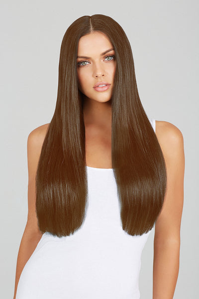 "#10 Medium Chestnut 20"" Clip In Hair Extensions"