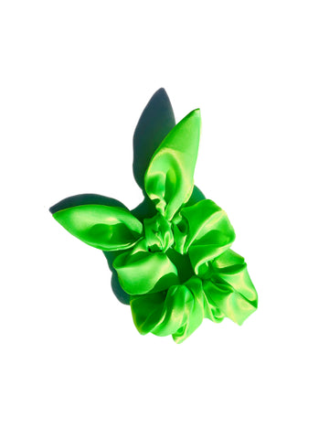 Neon Sassy Bow Scrunchie - Galactic Green