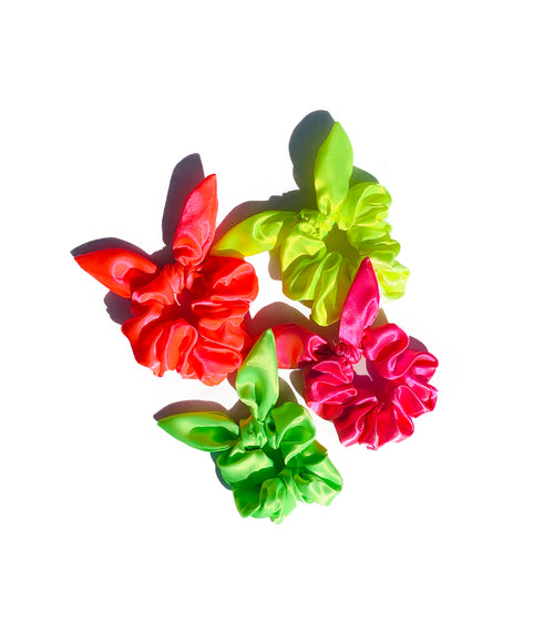Neon Sassy Bow Scrunchie Set