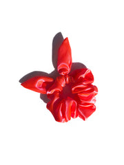 Neon Sassy Bow Scrunchie - Hot Fire Orange
