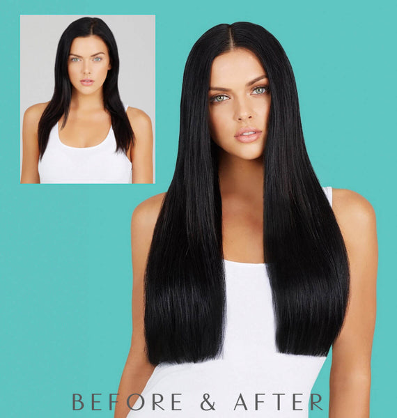 "#1 Jet Black 24"" Clip In Hair Extensions"