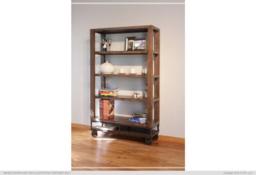 4 SHELF SOLID WOOD BOOKCASE WITH CASTERS