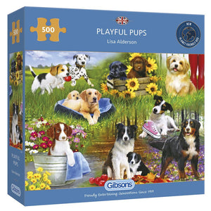 Puzzle - 500 pc (Gibsons) - Playful Pups   (Coming June)