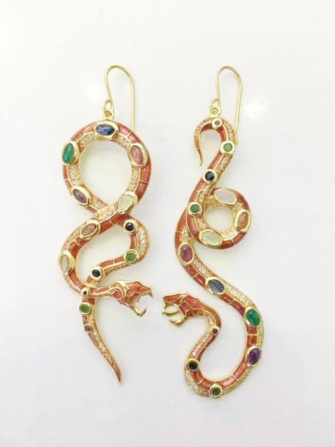 22K Gold Plated Sterling Silver Gem Stone Long Earrings