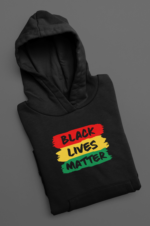 Black Lives Matter Rasta Colours Pullover Hoodie