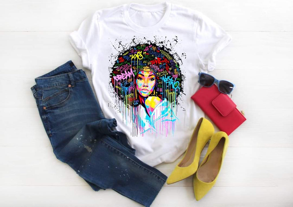 Dream Love Afro Graffiti Girl T-Shirt - Hot Lab Tees