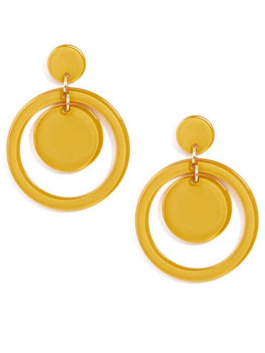 yellow earring with a circle post, with an attached large circle with a smaller one inside