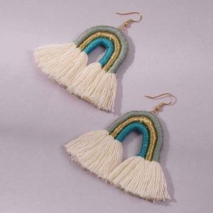 blue, white and gold rainbow earrings made of wrapped thread