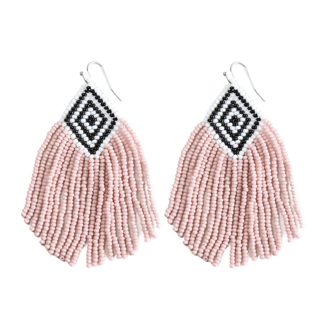 pink beaded tassel earrings with a black and white base