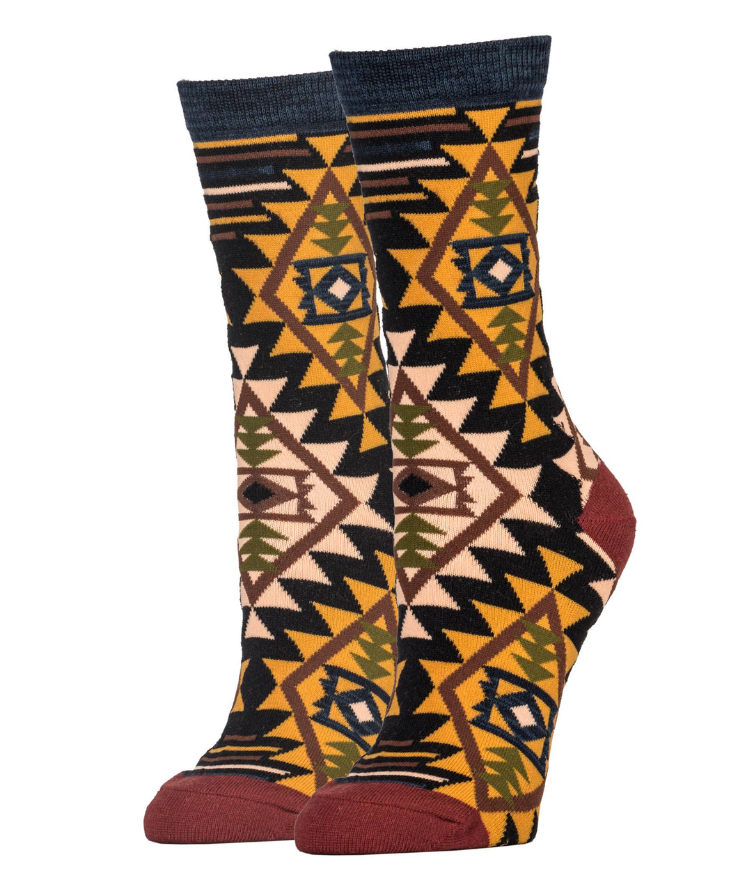 A Southwestern print sock in warm colors