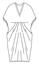 Load image into Gallery viewer, drawing of a vneck kaftan style dress with tucks at the waist