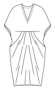 drawing of a vneck kaftan style dress with tucks at the waist