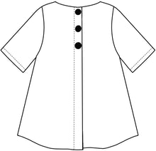 Load image into Gallery viewer, flat drawing of the back of a top with button detail down the back center