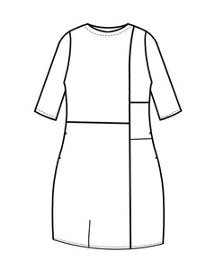 drawing of a color blocked knee length dress