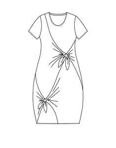 a flat drawing of a dress with two ties in the front