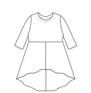 a flat drawing of a top with an a-line skirt attached