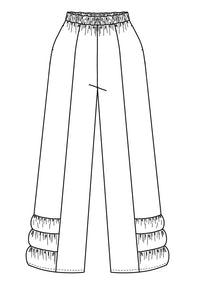 a flat drawing of pants with a ruffled detail at the ankle