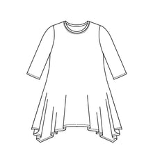 Load image into Gallery viewer, drawing of a top with a 3/4 sleeve and a hankerchief hem