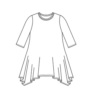 drawing of a top with a 3/4 sleeve and a hankerchief hem