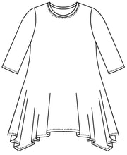Load image into Gallery viewer, drawing of a top with a round neckline, 3/4 sleeves and a hankerchief hemline